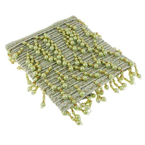 perfk Perlen Fransen geschnitten Fransenborte Fringe Trim, 12 Meter 7,5 cm Breite, Applikation - Vorhang, Hochzeitsdeko - F