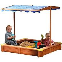 dobar 94350FSC - Arenero (de madera FSC, altura de techo ajustable e inclinable, con protección contra rayos UV 801, incluye lona impermeable, 117 x 117 x 117 cm)