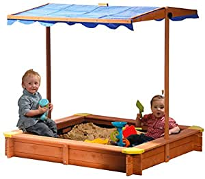 dobar 94350fsc bac sable en bois fsc avec toit ajustable en hauteur inclinable et prot g uv. Black Bedroom Furniture Sets. Home Design Ideas