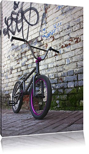 Pixxprint Fahrrad vor Graffitiwand 100x70cm Leinwandbild Wandbild Kunstdruck