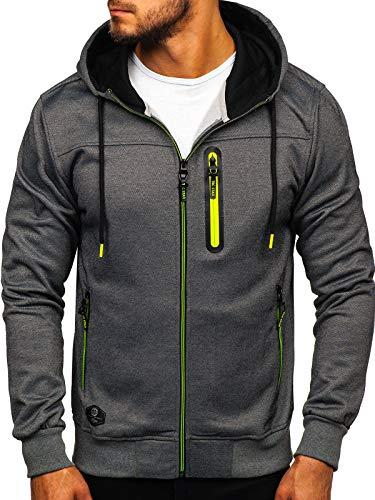 BOLF Herren Kapuzenpullover Sweatshirt Hoodie Zip Outdoor Sport Street Style T&C Star TC870-1 Dunkelgrau M [1A1]
