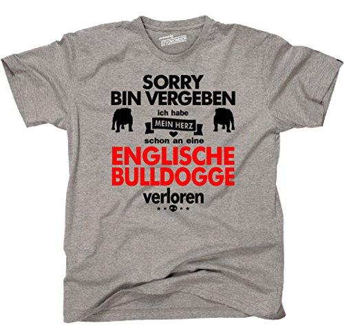 Siviwonder Unisex T-Shirt ENGLISCHE BULLDOGGE Herz verloren Hund Hunde fun sports grey - rot