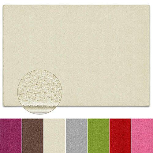 Teppich Noblesse   viele Größen   mit GUT-Siegel   flauschig getufteter Flor in modernen Farben   für Wohnzimmer, Schlafzimmer, Jugendzimmer (creme, 140x200 cm)