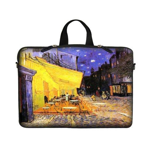 Preisvergleich Produktbild 15 39,62 cm Tragetasche aus Neopren mit verstecktem Griff Sleeve Notebook & Ösenvorhänge (D-Ring) für 38,1 cm 39,62 cm ChaoDa - Vincent van Gogh Cafe bei Nacht