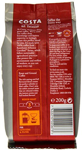 Costa Roast and Ground Coffee, 200g Bag