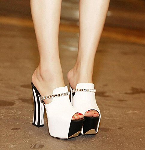 GLTER Femmes Pompes Pierres de strass Spell Color Slippers Peep Toe Thick High Heel Platform Chaussures de table étanches White