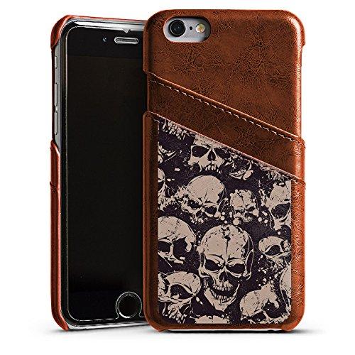 Apple iPhone 4 Housse Étui Silicone Coque Protection Crâne Méchant Gothique Étui en cuir marron