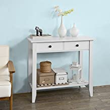 SoBuy® Mesa auxiliar con 2 cajones y tablero o estante, Consola mesa madera escritorio blanco, Carro de cocina, FSB04-W, ES