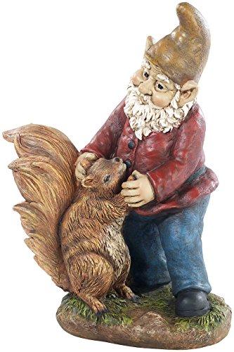Royal gardineer dFI nain de jardin avec petit écureuil, peint à la main