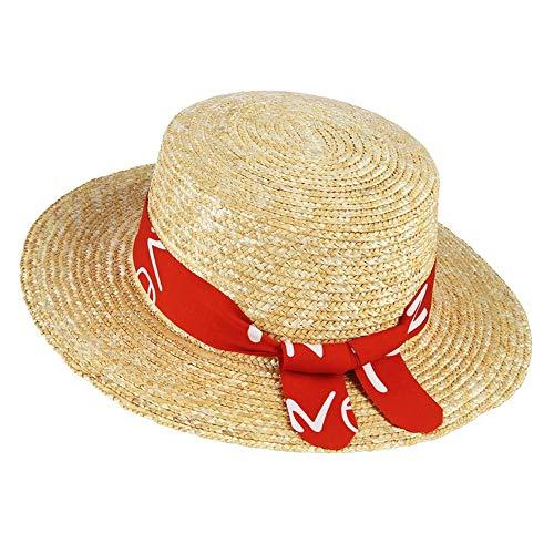 QZQWANAD Sommer Hüte für Frauen Neue Strohhut Breiten flachen Krempe Stroh gewebt Sonnenhut mit Band Lady Holiday Beach Hat (Flachen Stroh-hut Krempe)