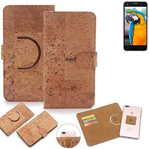K-S-Trade Schutz Hülle für Vestel V3 5040 Handyhülle Kork Handy Tasche Korkhülle Handytasche Wallet Case Walletcase Schutzhülle Flip Cover Smartphone