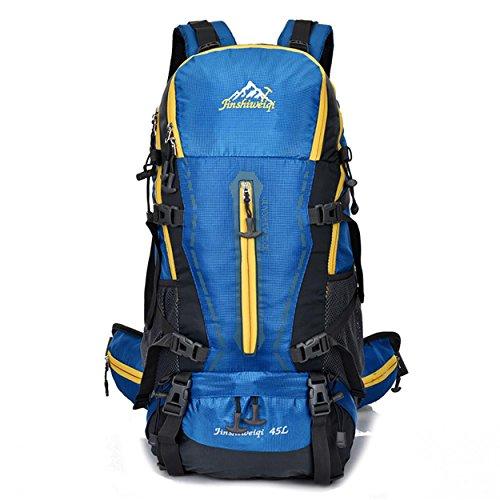 45L Rucksack Nylon wasserdicht große Kapazität Multifunktions-Rucksack mit abnehmbaren Rucksack mit dem System für Bergsteigen Reisen Klettern Outdoor Sports Pack H55 x L32 x T22 cm Blue
