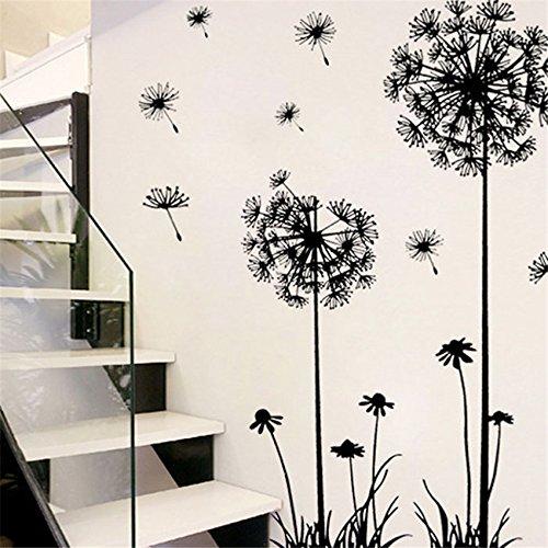 Zegeey DIY Removable Home Zimmer Wanddekor Aufkleber Kreative Löwenzahn Blume Pflanze Baum Große PVC Schwarz