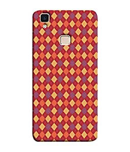 PrintVisa Designer Back Case Cover for Vivo V3 (Colourful red yellow orange purple violet )
