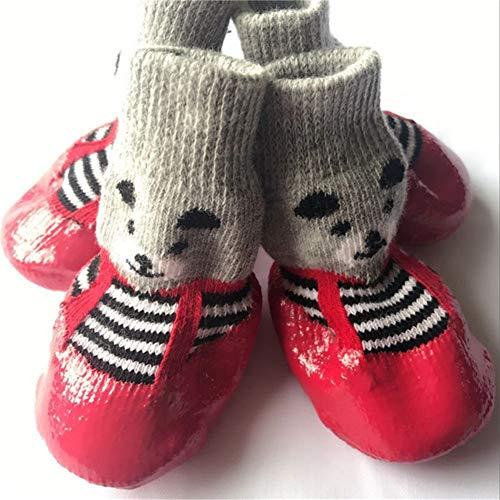 Hund Schuhe 4 Teile/Satz Baumwolle Gummi Pet Wasserdichte Rutschfeste Hund Regen Schnee Stiefel für Welpen Kleine Katzen Hunde Socken Schuhe (Welpen Für Gummi-stiefel)