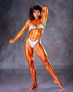 Rachel McLish stunning body building pose barefoot in bikini Harry Langdon studio portrait female bodybuidler legend 10x8 photo