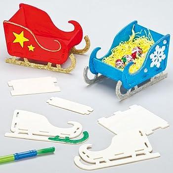Baker Ross Kits Traîneaux de Noël 3D en bois que les enfants pourront fabriquer et décorer (Lot de 4)