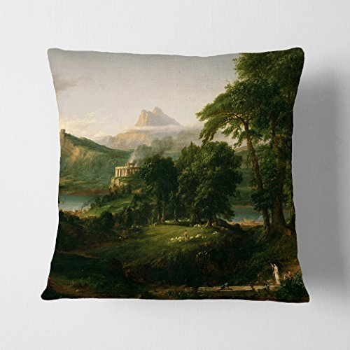 Arty Pie Double-Sided Faux Suede 17 x 17 Inch (45 x 45 cm) Thomas Cole Arcadian Square Throw Pillow Cover and Cushion Pad-Free Delivery, Polyester, Multi-Colour, 42 x 20 x 42 cm