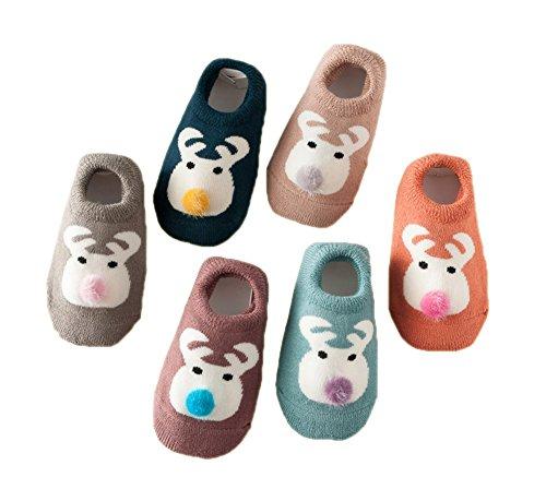 6 Paare Baby Antirutsch Socken Säugling Baby Jungen Mädchen Rutschfest Socken Kleinkind Dicke Baumwolle Niedlich Tier Socken (Niedliche Baby-socken)