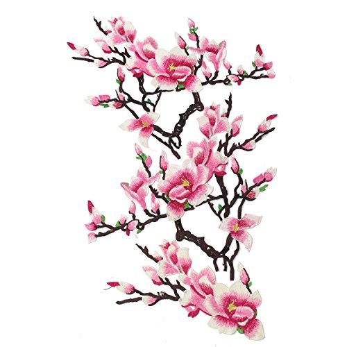 KING DO WAY 3pcs/Stück 3d Magnolia-blume Sticke Applikation Stickerei Aufnäher für Kleider Cheongsam chinesisches Etuikleid Abendkleid Applique Bikini Patches Jeans Kleid Deko