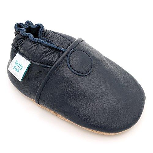 Dotty Fish weiche Leder Babyschuhe mit rutschfesten Wildledersohlen. 6-12 Monate (19 EU). Einfarbig marineblauer Schuh. Klassisches Design. Jungen und Mädchen. Kleinkind Schuhe.