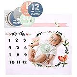 Milestone Blanket Swaddlers mit Marker und Meilensteinkarten | Fotografie Prop für Baby Boy & Girl | 100 x 100 cm