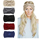 KQueenStar Damen Gestrickt Stirnband - Häkelarbeit Schleife Design Gestrickte Stirnband Winter Kopfband Haarband Hut Cap Ohr Wärmer (5 set colorful)