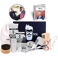 Bartpflegeset ULTIMATIV von BarFex (11-Teile) - Bartöl, Shampoo, After Shave Balsam, Styling Wax, Bürste, Kamm, Schere, Schablone, Schürze, Stoffbeutel - Geschenk für Männer - mit Bartpflege Anleitung