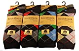 12 Pairs of Mens Designer Socks, Cotton Rich Designs, Size 6-11, By Sockstack® (Argyle Diamond)