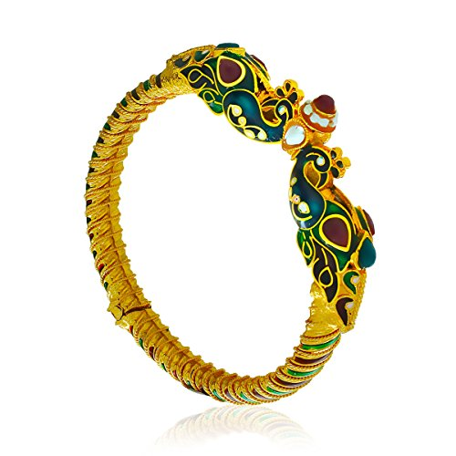 Spargz Peacock Design Wedding Wear Gold Color Brass Synthetics Stones Studded Openable Kada For Women AISK 068