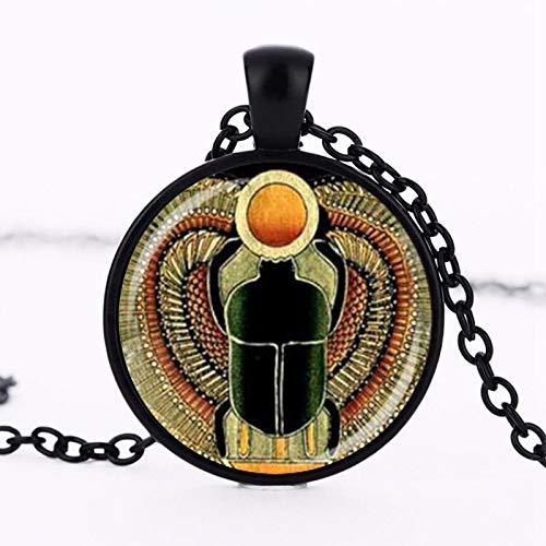Symbol Der Stärke Ägyptischen Skarabel Glaskuppel Anhänger Halskette, Alte Ägypten Schmuck Mode Charme Frauen Geschenk