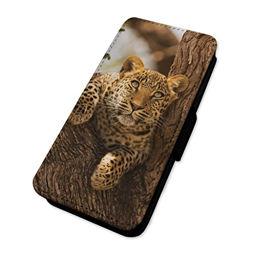 Splendido leopardo–Jaguar Forest Cat–Custodia ad aletta in pelle cover Apple Iphone 8 Plus