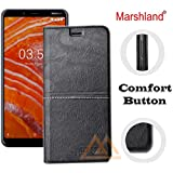 Marshland Leather Inside Soft Silicon Case Kickstand Wallet Design Full Protection Stylish Flip Cover for Nokia 3.1 Plus (Black)