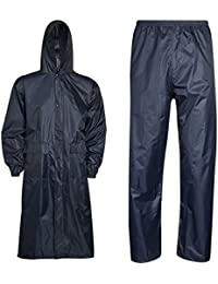 Islander Fashions Unisex Ropa de lluvia Impermeable Pantalones largos y pantalones Set Vestido de trabajo para adultos S/2XL