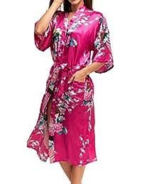 7ff0593b6a Kimono Robe de Chambre Longue Imprimé - Chemise de Nuit Soie Artificielle  Paon Fleur - Beaucoup