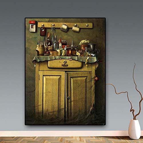 Cyalla Retro Küche Leinwand Malerei Bild Modern Scandinavian Coffee Shop Zeichnung Poster Und Drucke Wandkunst Bild Wohnzimmer 60X80Cm