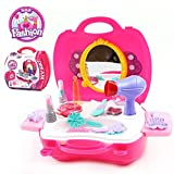 Pretend Play Make up Kit for Little Girls & Kids 21 Pcs Beauty Salon Toys Girls Vanity Beauty Set with Make-up Box