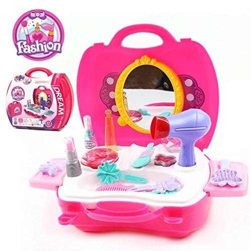 Pretend Play Make up Kit for Little Girls & Kids 21 Pcs Beauty Salon Toys Girls Vanity Beauty Set with Make-up Box