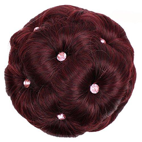 Bluestercool Mädchen Curly Bride Brötchen Chignon Cosplay Perücke mit neun Blüten