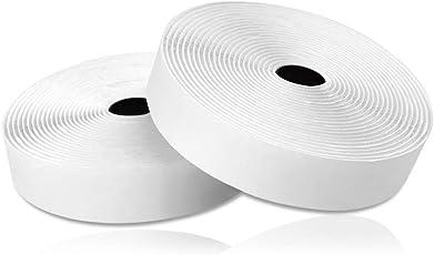 Thinkcase Doppelseitig Klebendes Klettband Selbstklebend Extra Stark mit Klettverschluss (Flauschband und Hakenband) und Klebepad 5m Lang 20mm Breit Weiß