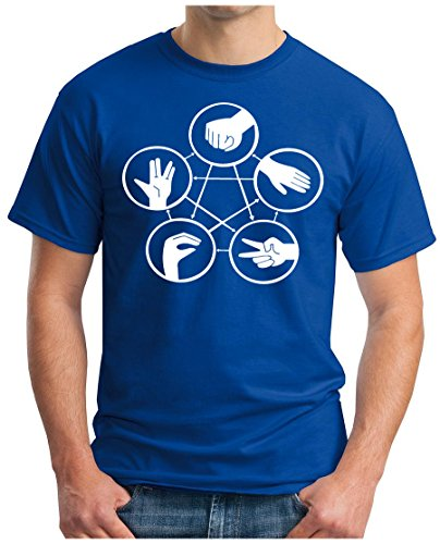 OM3 - BIG-BANG-HAND-SIGNS-WS - T-Shirt NERD ROBOT ATOM KITTY GEEK EMO FUN SITCOM TBBT SARCASM PARODY, S - 5XL Royalblau