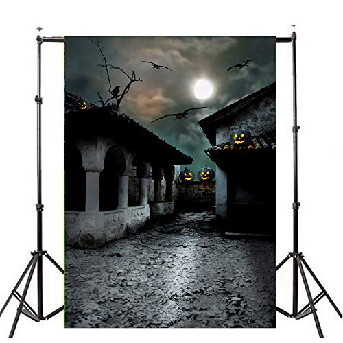Mann Kostüm Rot Silber Iron Und - Spielzeug -Artistic9 Halloween geheimnisvolle Kulisse Black Night Haunted Gebäude bösen Kürbis Horror Foto Requisiten Halloween Party Portrait Tür Photoshoot Booth Spooky Masquerade Decor 3x5FT