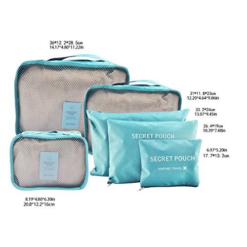 Likeluk 6 Stück Kleidertaschen Reisetasche in Koffer Wäschebeutel Schuhbeutel Kosmetik Aufbewahrungstasche Blau