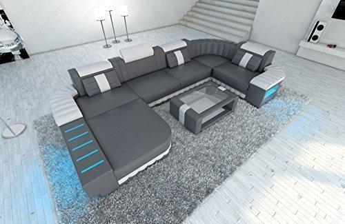 Mega Canapé en cuir Bellagio forme U avec éclairage LED GRIS-BLANC