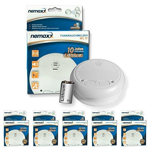 5x Nemaxx WL10 Funkrauchmelder - mit 10 Jahre Lithium Batterie Rauchmelder Feuermelder Set Funk koppelbar vernetzt - nach DIN EN 14604