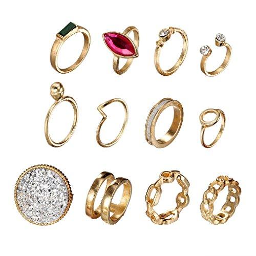 Trada Damen Ring, 12PCS Orientalisches Vintage Frauen Boho Kristall Blume Knuckle Ring tibetischen Türkischen Fashion Midi Ring Nagel Fingerring Band Satz der Vier Ringe (Mehrfarbig)