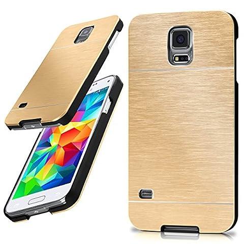 Samsung Galaxy S5 Hülle Dünn Gold [OneFlow Aluminium Back-Cover] Schutz
