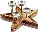 CHICCIE Stern Tablett mit Vier Kerzenhalter aus Mangoholz - 40cm - Weihnachten Deko Adventskranz