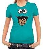 Karneval Fasching Verkleidung Damen T-Shirt Gruppen & Paar Kostüm Blaues Monster Premium, Größe: XXL,Karibikblau