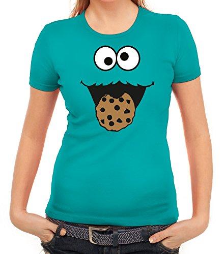 Karneval Fasching Verkleidung Damen T-Shirt Gruppen & Paar Kostüm Blaues Monster Premium, Größe: XXL,Karibikblau (Nerd Paar Kostüm)
